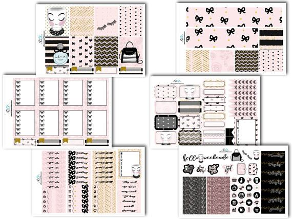 Pretty In Pink ECLP Vertical  Weekly Kit  Planner Stickers