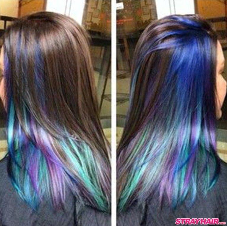 Oil Slick Hair Color Hidden Under Dark Hair Layer Oil Slick Hair Color Peacock Hair Color Underlights Hair