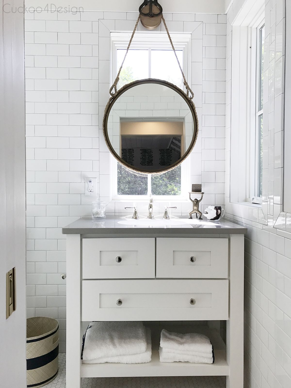 Pulley and rope bathroom vanity mirror mounting idea for in front of