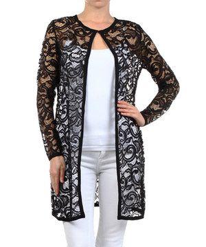 This Karen T. Design Black Lace Open Cardigan - Women by Karen T ...