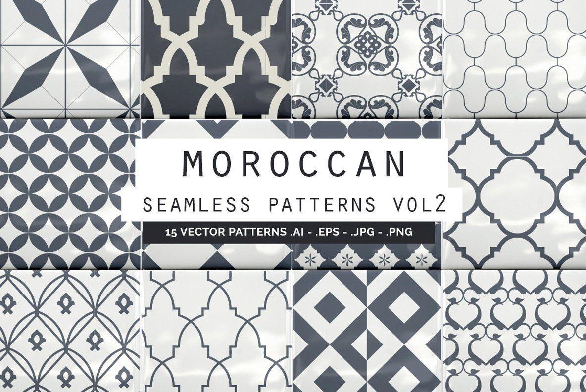 Moroccan Seamless Patterns Vol2 Graphics Youworkforthem Vector Pattern Seamless Patterns Hand Drawn Pattern