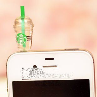 Hot New Starbucks Coffee Style 3.5mm Headphone Anti-dust Plug Cap for Iphone 4 4S Samsung Galaxy HTC LG - Transpare...