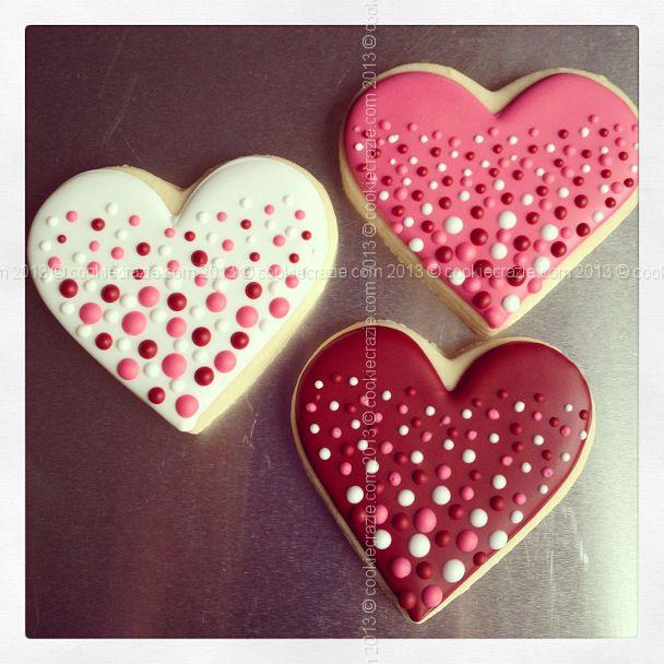 CookieCrazie:  Valentine Dotted Heart  decorated sugar cookies.