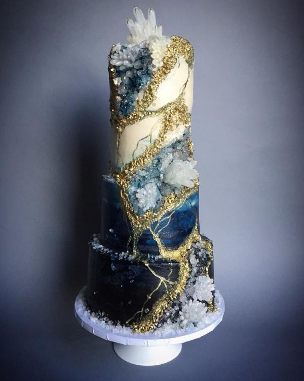 10 Blue Wedding Cake Images Sapphire Geode Wedding Cakes
