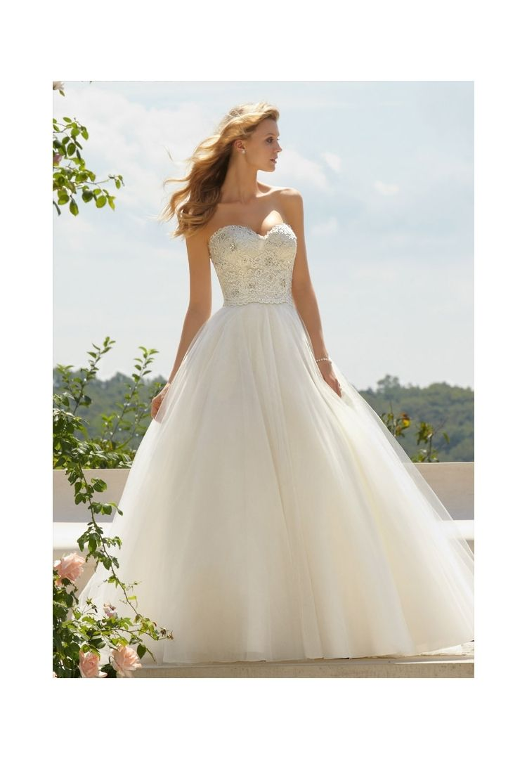 Color embroidered wedding dress  Wedding Dresses By Voyage featuring  Classic Embroidered Lace
