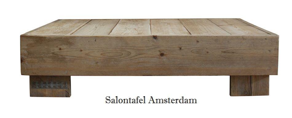 Steigerhouten salontafel, model Amsterdam. Eenvoudige salontafel gemaakt van gebruikte/oude steigerplanken. Te koop vanaf € 78,00 (60x60x40cm) Rien van der Meijden www.steigerhoutenmeubelsenmeer.nl