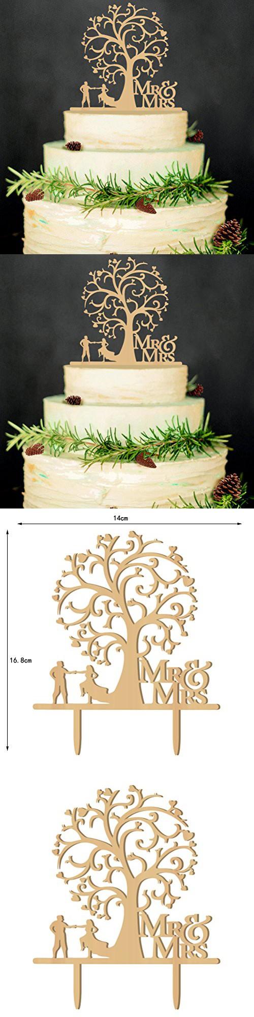 LEORX Rustic Bird Tree Wedding Cake Topper, Wood Cake Topper for ...