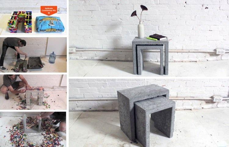 aus beton und lego beistelltische für den garten selber machen, Garten und erstellen