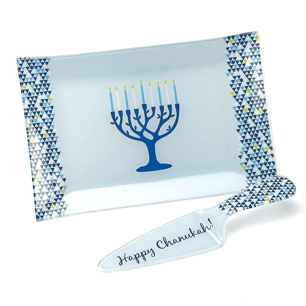 Jewish Gifts Serving Plates Glass Tree Of Life Chanukah Serving