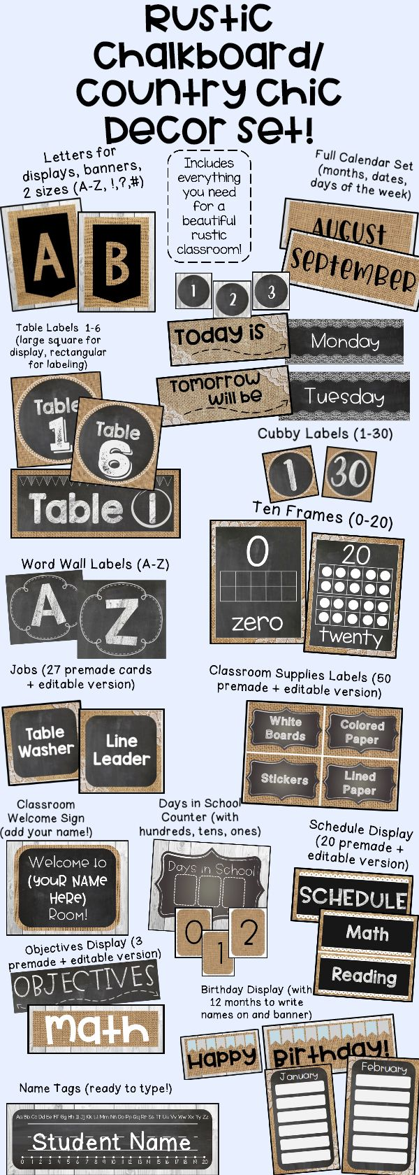 Rustic Chalkboard / Country Chic Classroom Decor Set ...