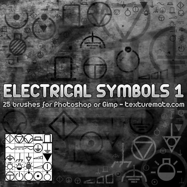 Electrical Symbols 1 Brush Pack for Photoshop or Gimp | texturemate ...