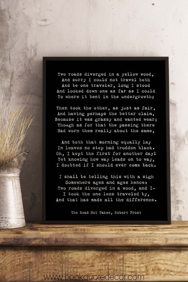 Robert Frost Poem Quote Print, The Road Not Taken Poem ...