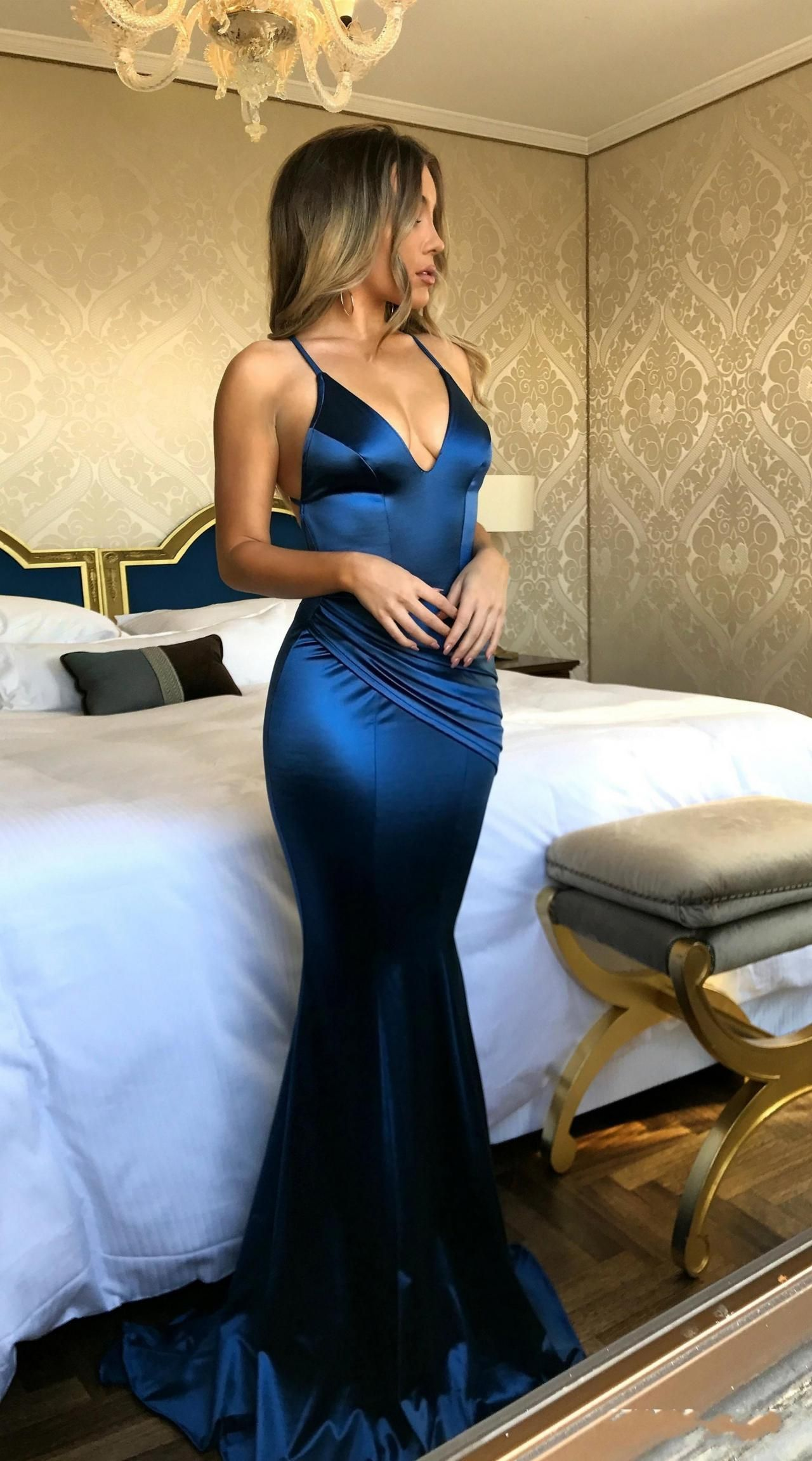 Backless prom dresses royal blue mermaid prom dresses v neck prom