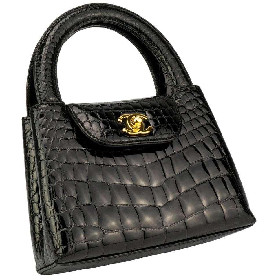 Chanel Black Crocodile Vintage Mini Teeny Tiny Kelly Clutch Alligator Tote Bag Chanel Handbags Classic Chanel Handbags Tote Chanel Bag