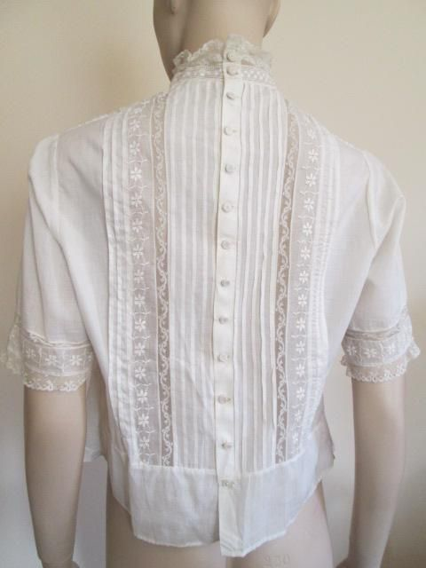 f115ea71a79 ON HOLD For Deborah  Antique Edwardian Blouse White Cotton Pintuck Lace  Crocheted Buttons