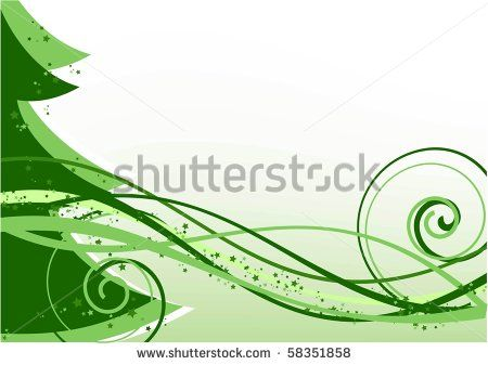vector background with christmas tree, waves and stars green color