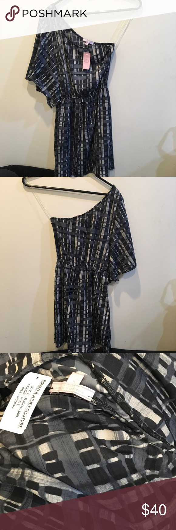 NWT Romeo & Juliet Couture One Shoulder Dress New with tags Dress with one shoulder and a billowy mid length sleeve - Abstract and very cute- short style and has never been worn. Romeo & Juliet Couture Dresses One Shoulder