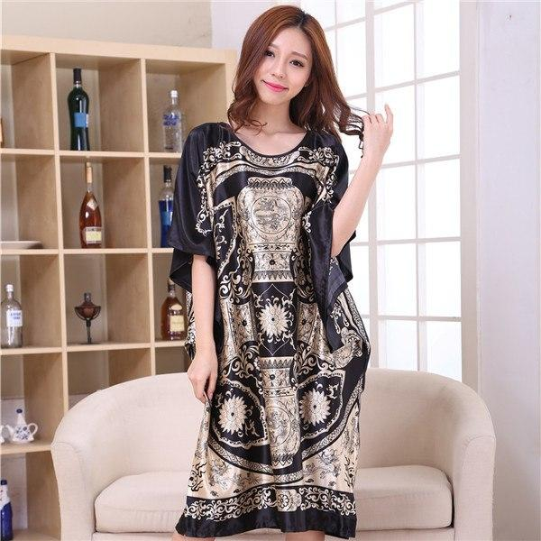 03e1cdc55366c Hot Sale Black Chinese Female Rayon Nightgown Summer Causal Loose ...
