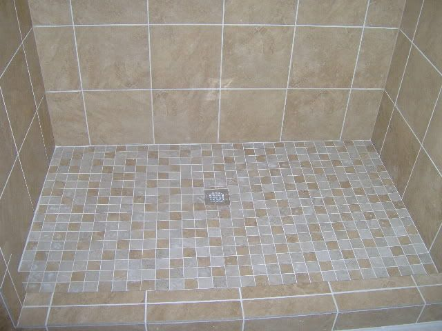 with 2 x2 porcelain tile shower floor