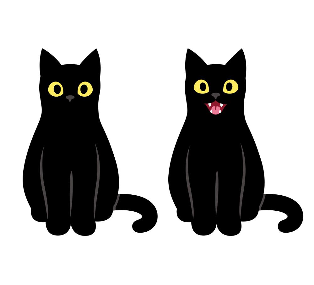 Realistic Cartoon Black Cat Sitting Meowing Black Cat Drawing Cat Doodle Cat Sitting