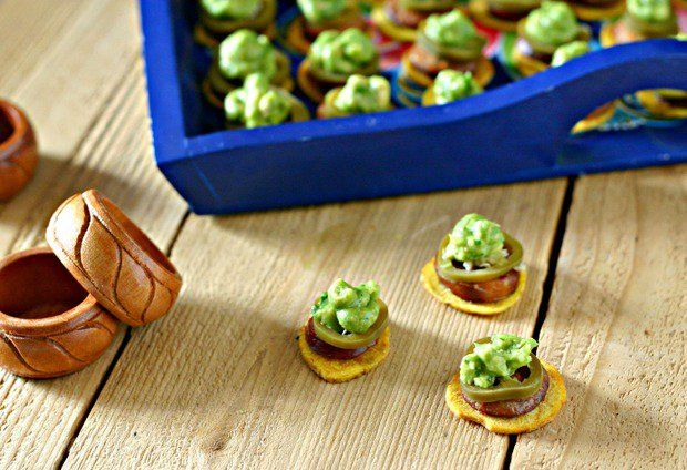 Plantain Chips with Chorizo, Guacamole and Pickled Jalapeños via @EverydayMaven
