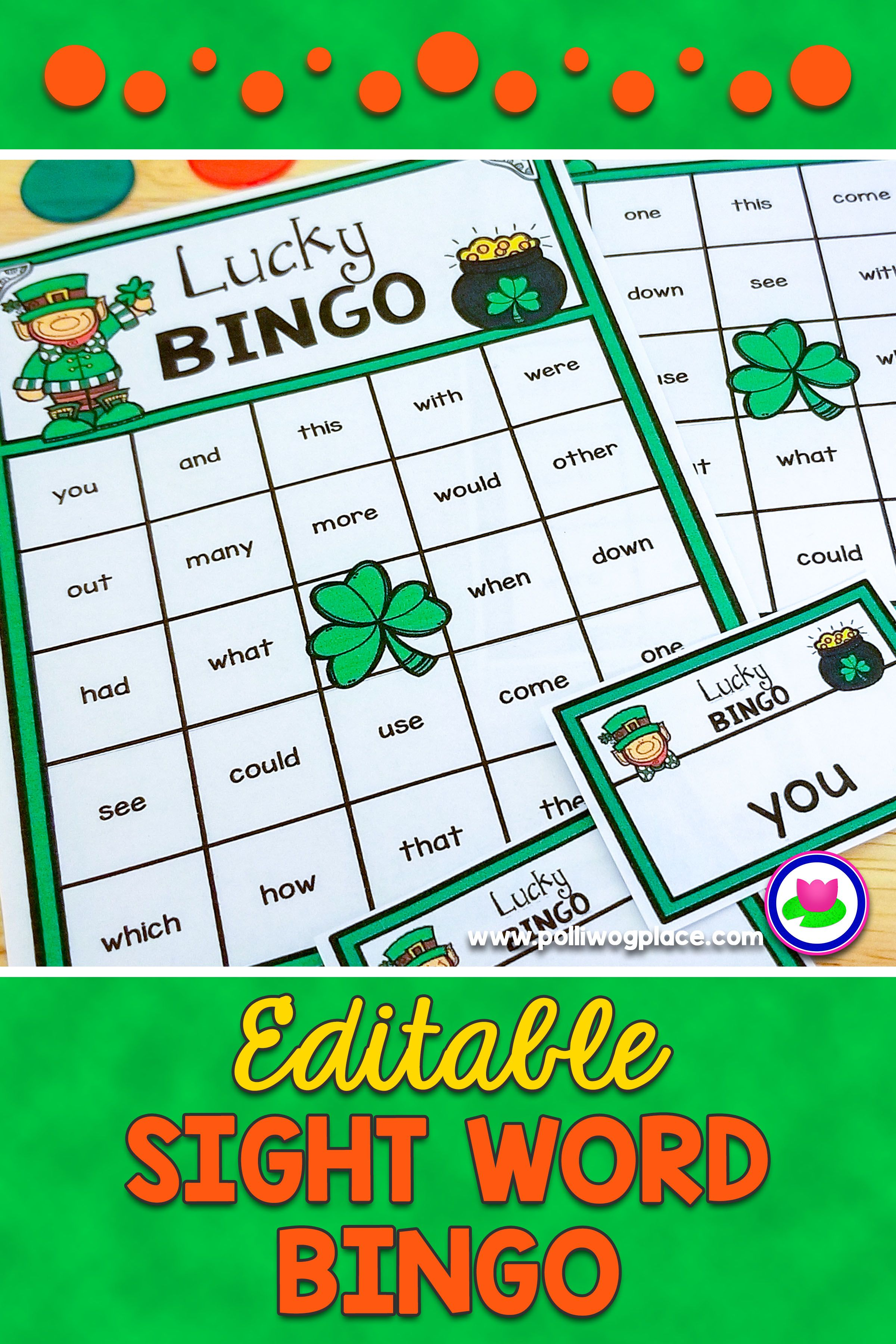 st patrick s day sight word bingo game editable so you can create rh pinterest at