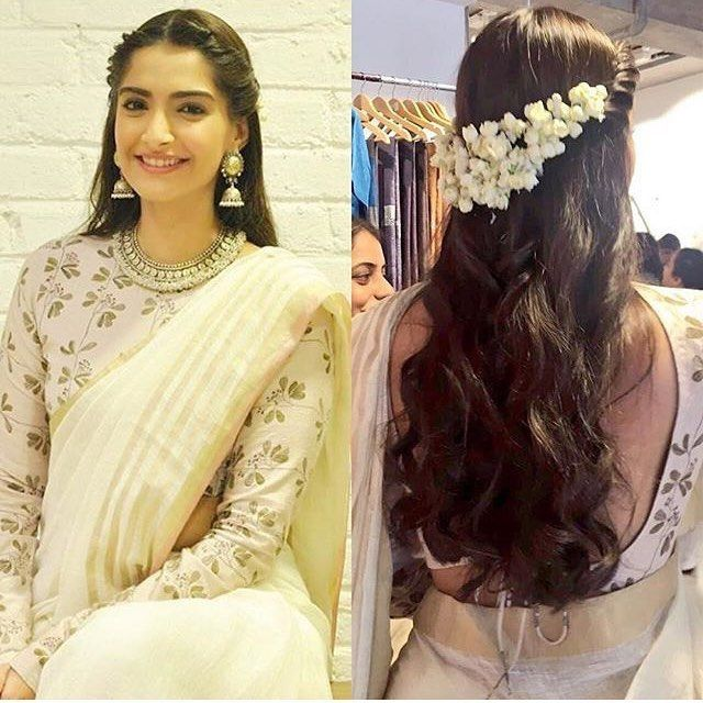 Floral Half Up Indian Hairstyles Saree Hairstyles Indian