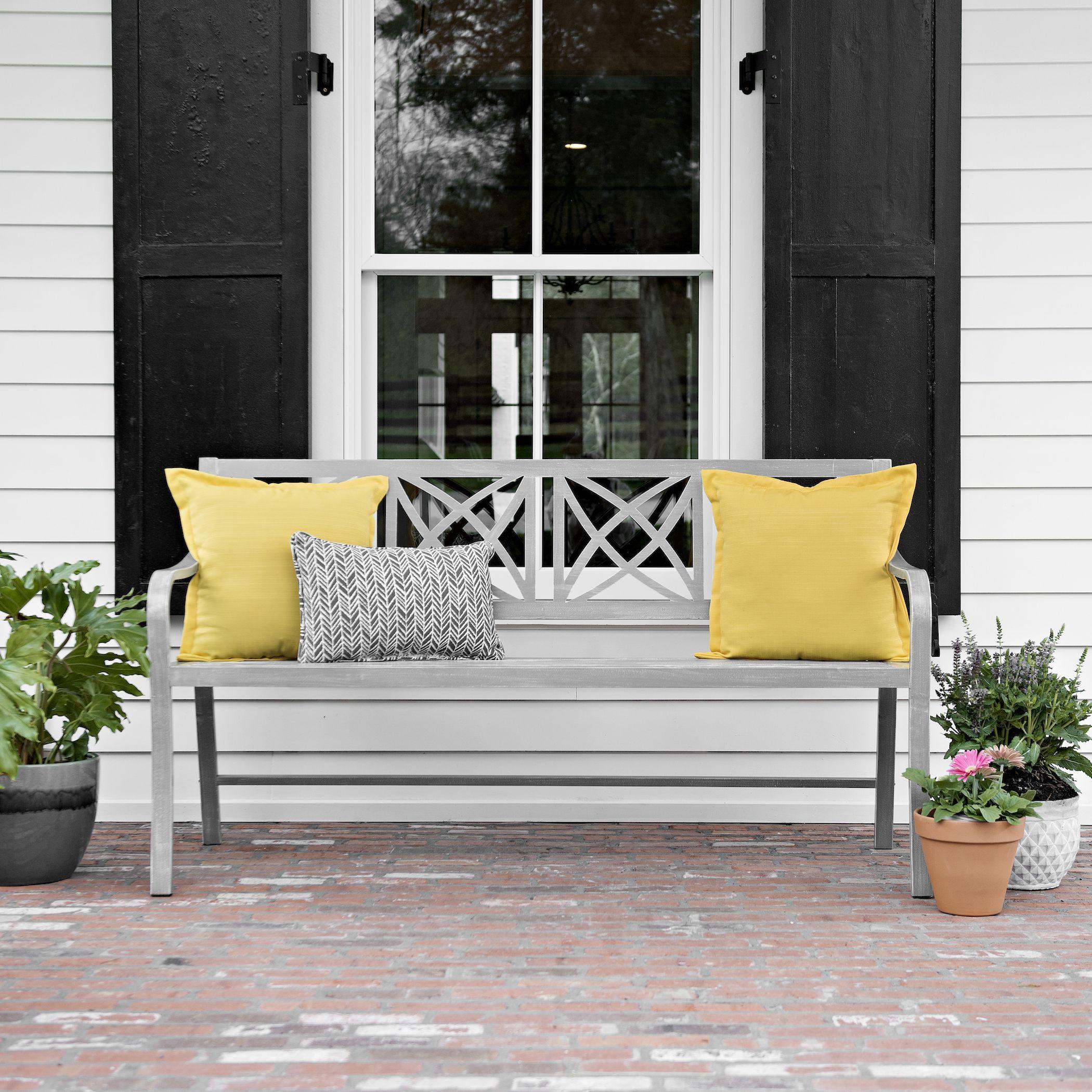 product details creamy gray geometric bench home decor metal rh pinterest com