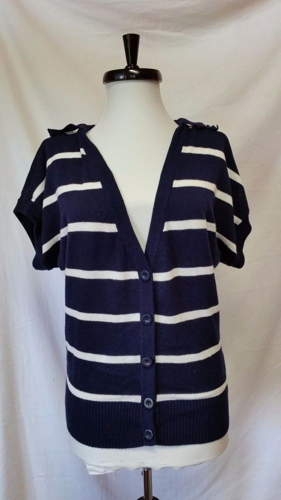 Twenty One Knit Button Down Cardigan Navy Striped Womens Size S ...