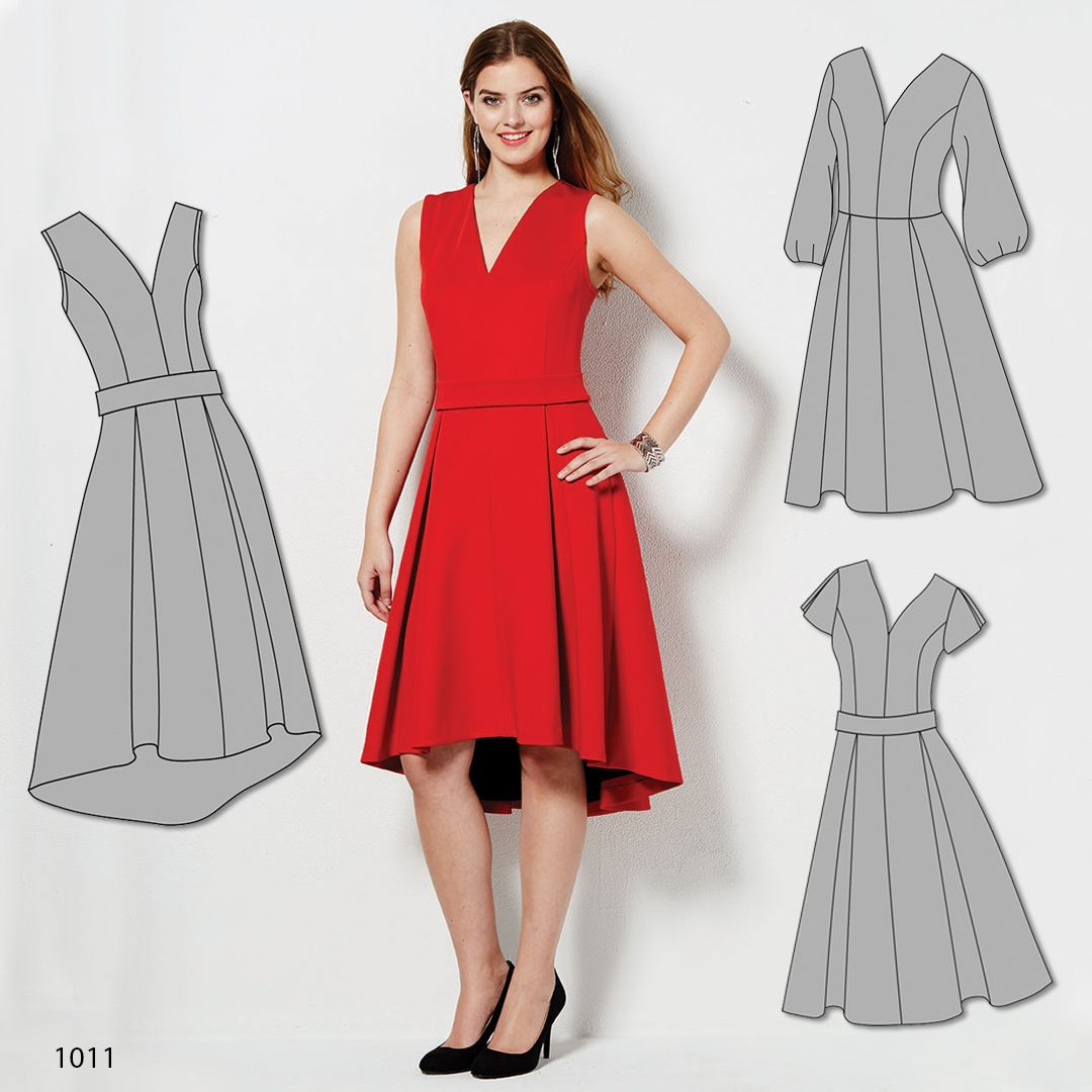 Sew a red-hot dress made with scuba knit fabric. This Simplicity ...