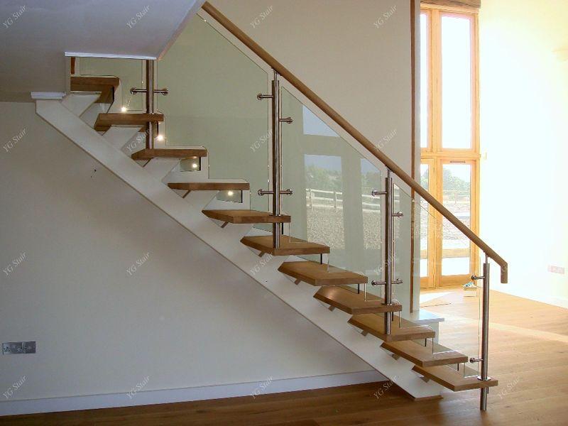 indoor glass ballisters indoor stair design with wood tread and rh pinterest com
