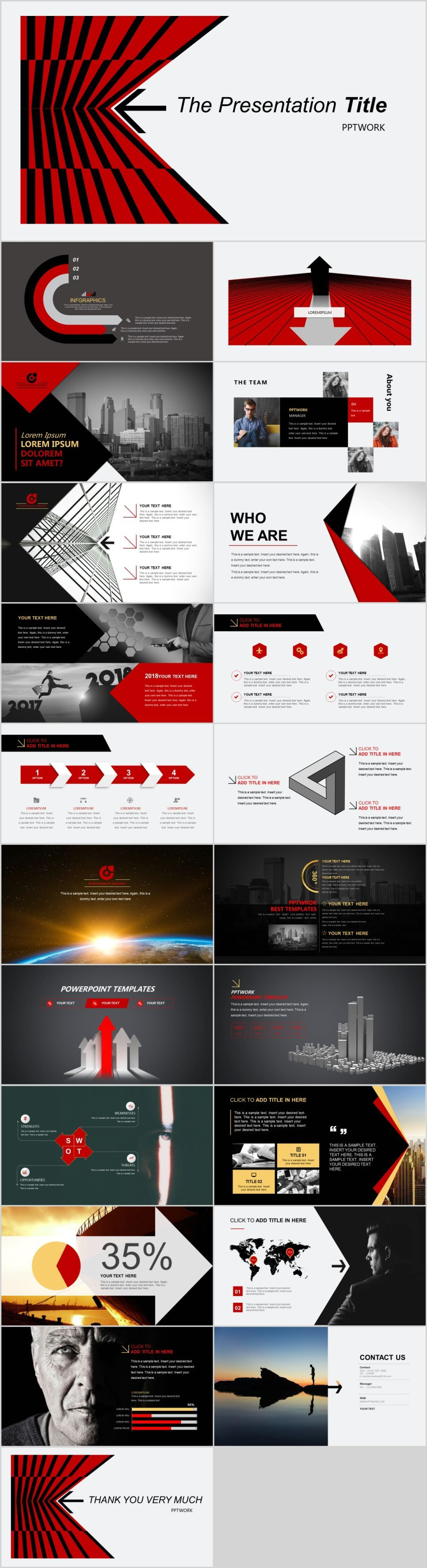 Red business serviceintroduction PowerPoint template