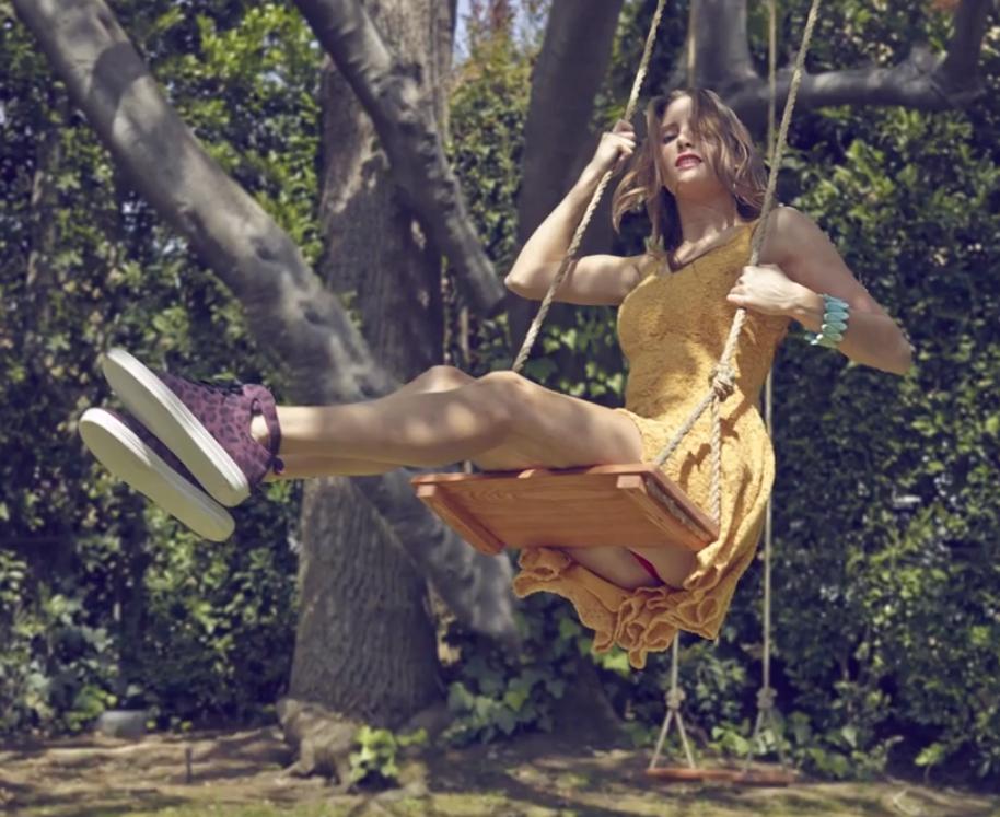 Sexy girl on a swing, teen gladiator