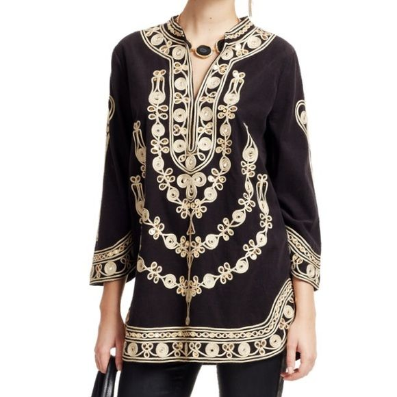 Hand Embellished Cotton Tunic Fine baby whale corduroy in classic black is illuminated with gold sequins in this elegant tunic. Stand collar, shaped three-quarter sleeves and shirttail hem. 100% cotton baby wale cord, dry clean only, made in China Calypso St. Barth Tops Tunics