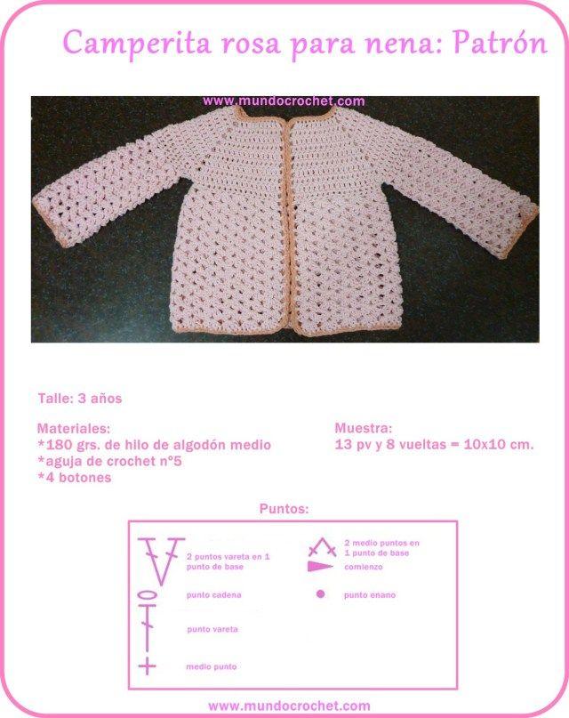Saquito o Camperita a crochet para niña   crochet para bebe ...