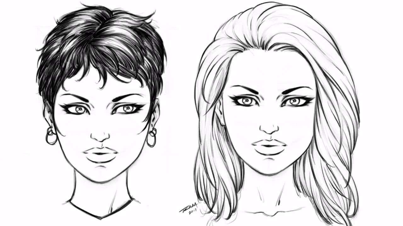 How to draw 2 hair styles female step by step how to