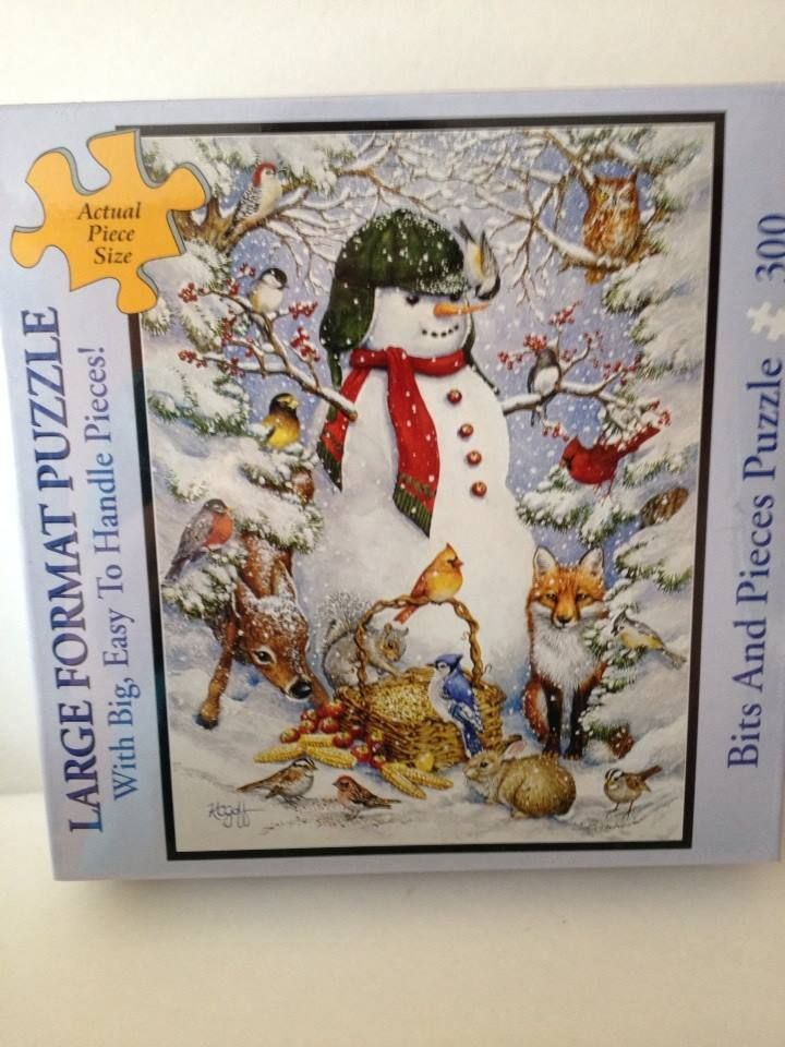 LARGE FORMAT PUZZLE WOODLAND SNOWMAN Kathy Goff 300 pieces Bits and ...