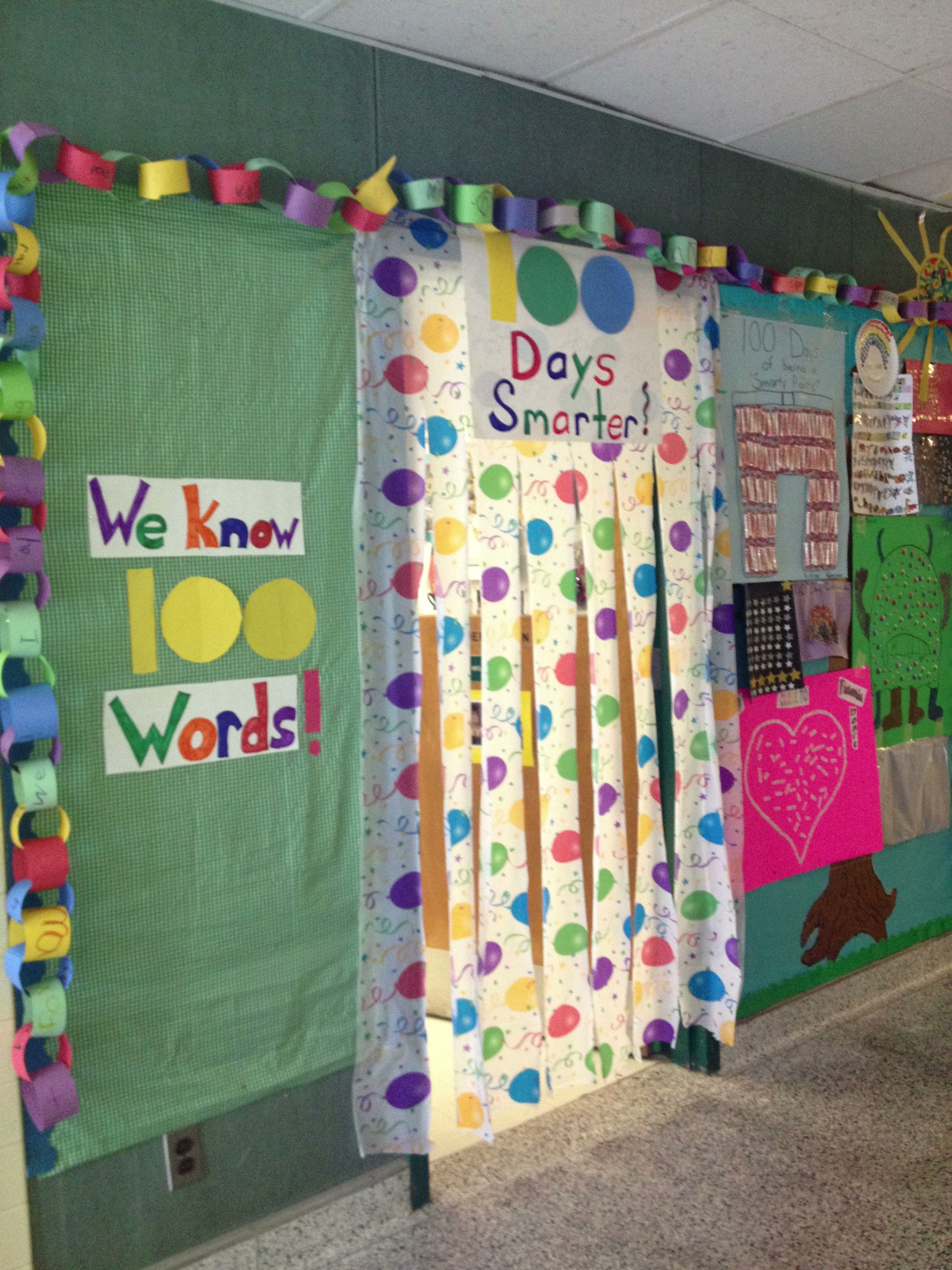 100th day door decoration! Table cloth from dollar store ...