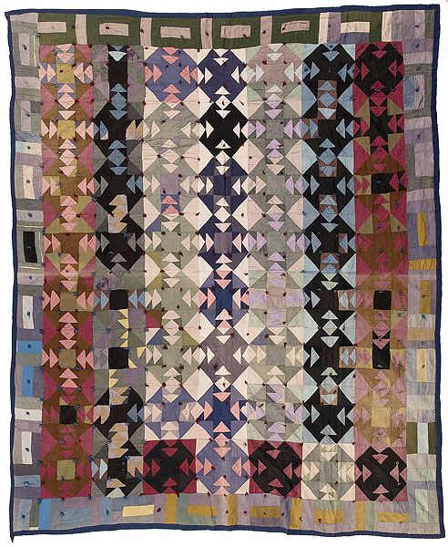 """Amish quilt with bars border, ca 1920's. Machine pieced and hand tied, colors of purple, pinks, black, green, blue, gold; 70"""" x 75.50"""""""