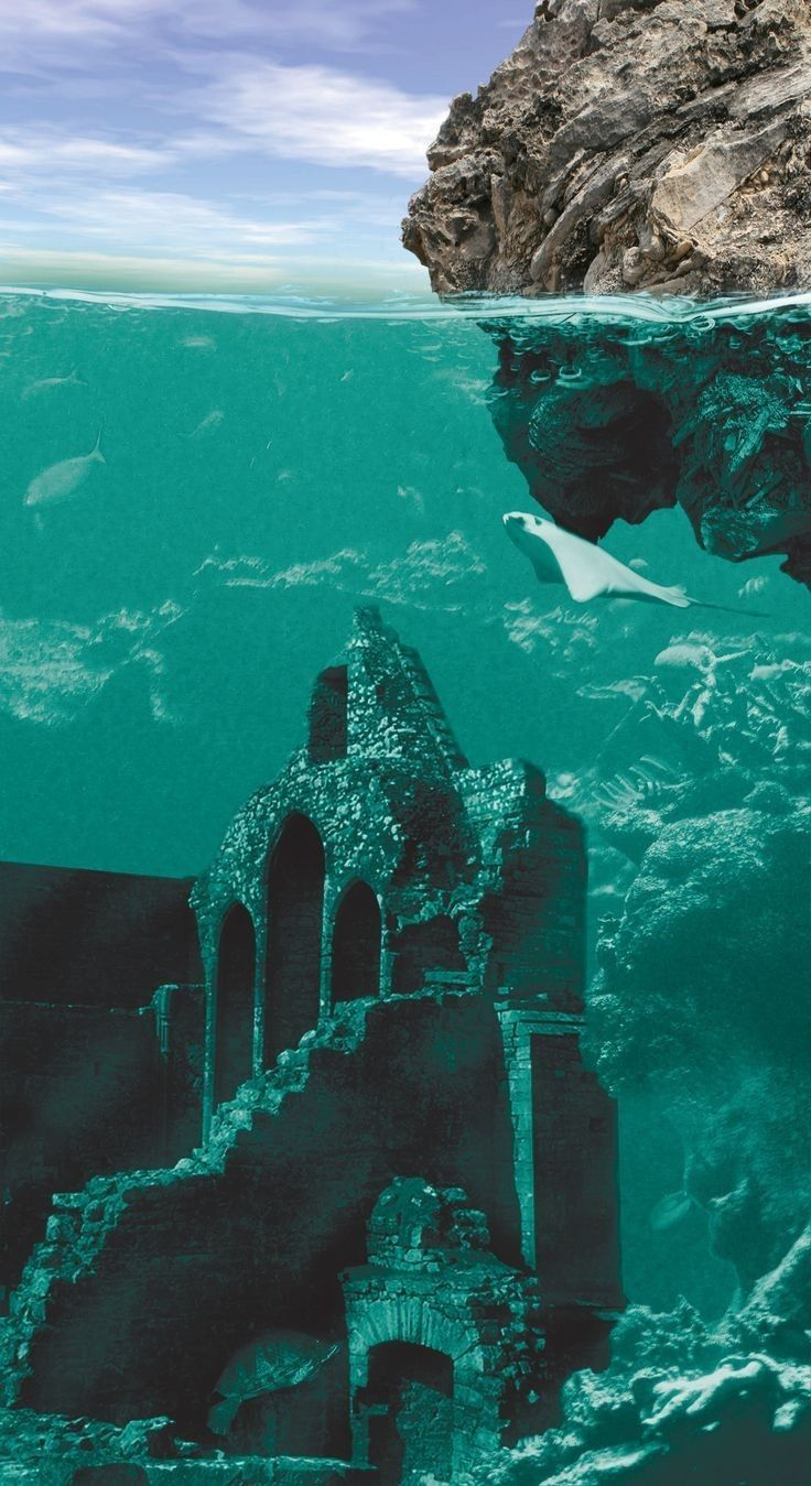 Pin By Normah Baharom On Beneath The Rippling Of The Waves Underwater City Lost City Of Atlantis Underwater Ruins
