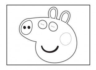 Your child can cut out and colour in this peppa pig face mask template for dressing up games for Peppa pig drawing templates
