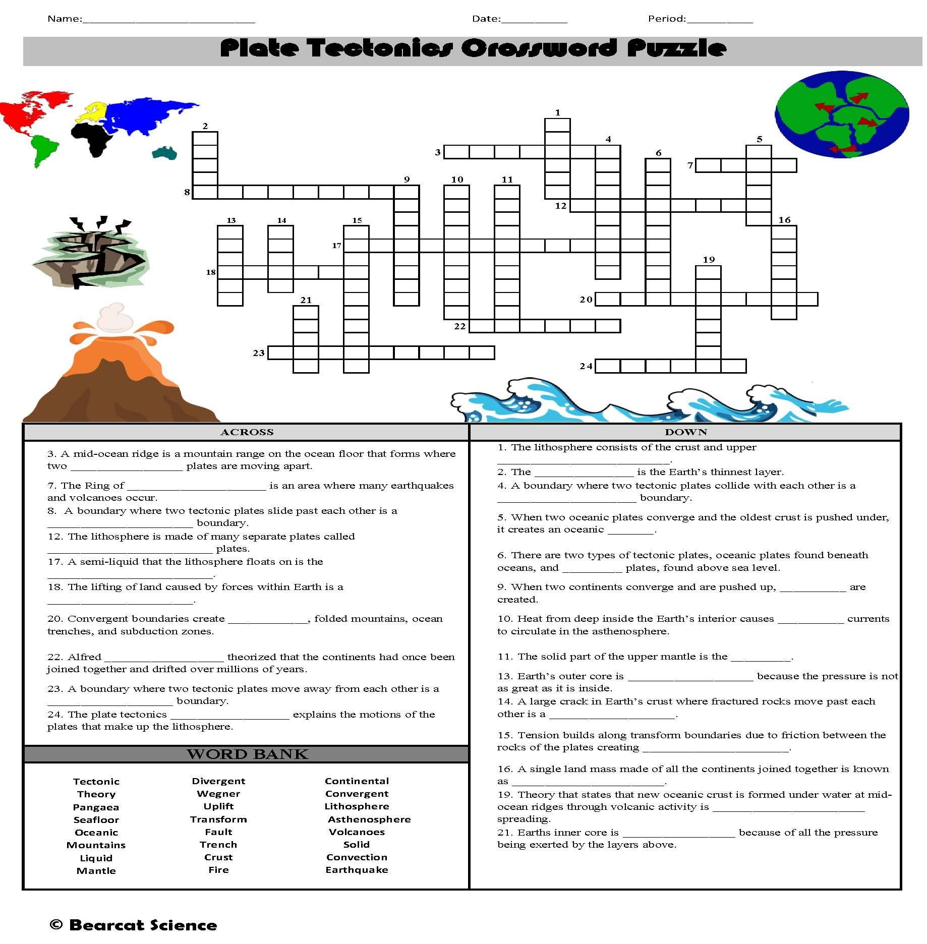 Plate Tectonics Crossword Plate Boundaries Boundaries Worksheet Plate Tectonics