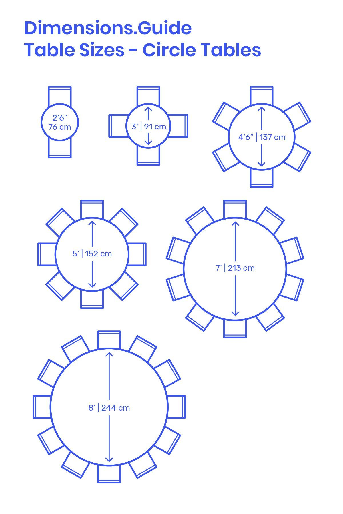 Circular Tables Are Space Efficient Tables Designed With A Variety Of Common Diameters Smal In 2020 Dining Table Dimensions Round Dining Room Table Dining Table Sizes