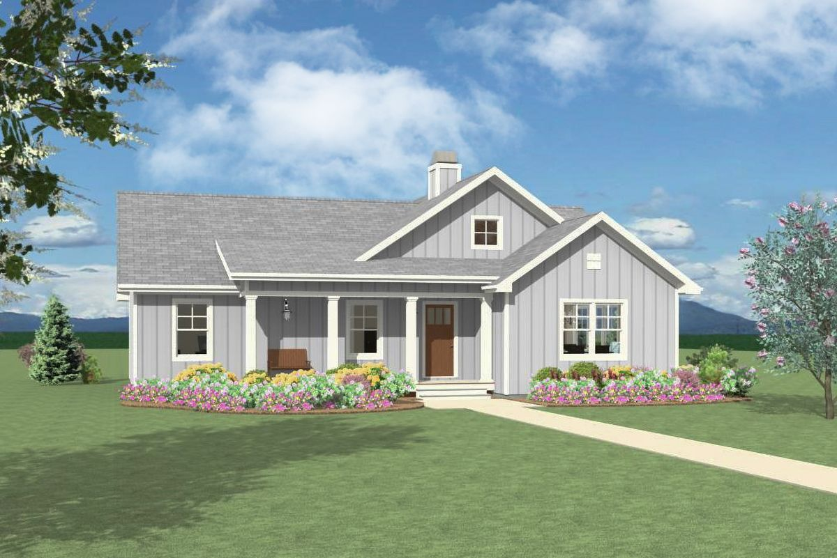 Plan 28920jj Open 3 Bedroom With Farmhouse Charm House Plans One Story Architectural Design House Plans One Level House Plans