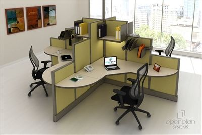 open plan 4 pack clover shape workstation typical 9 in 2019 office rh pinterest com
