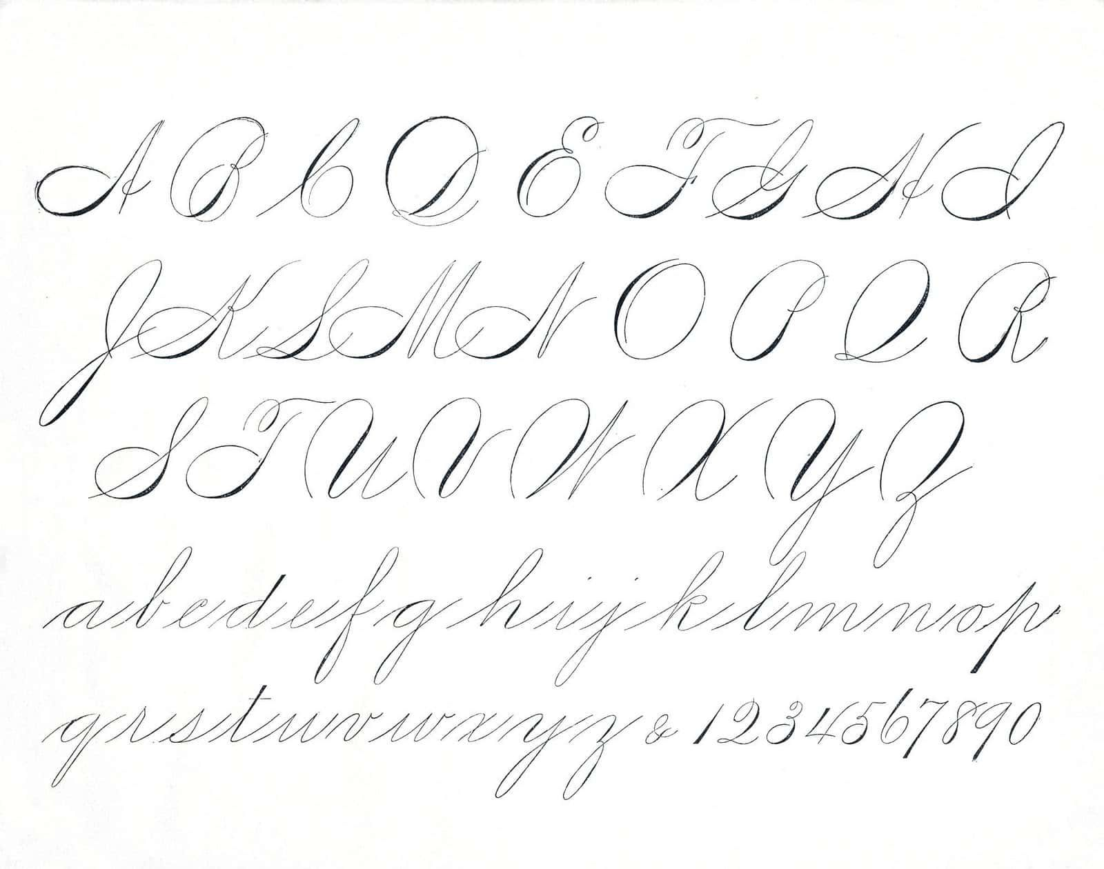 Example of spencerian script alphabet