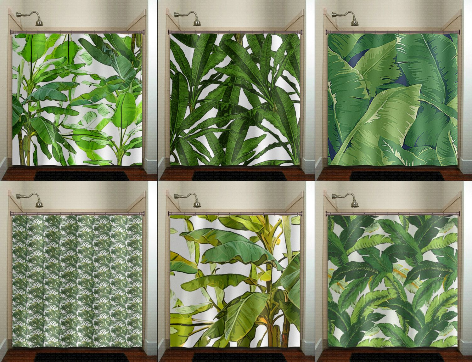 This Bathroom Tropical Jungle Green Palm Banana Leaf Shower Curtain Is Sure  To Bring Life Into