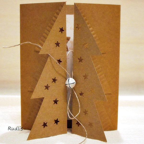 Charming Handmade Christmas Card From Z Choinką All Kraft ... Gatefold With Tree On  Both