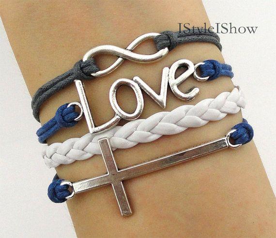Bracelet,infinity bracelet,love bracelet, cross bracelet,antique silver bracelet,bridesmaid bracelet, friendship christmas gift,personalized on Etsy, $5.99
