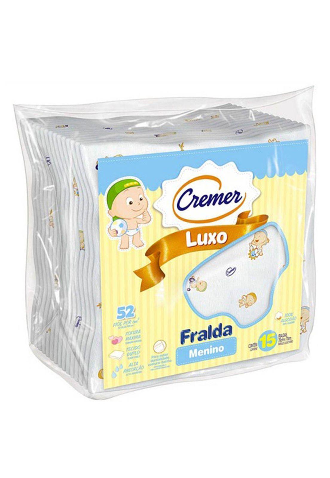 ae23de664f114a Fraldas de Pano Cremer Luxo Estampada Menino 15 Pçs Branco | Babys ...